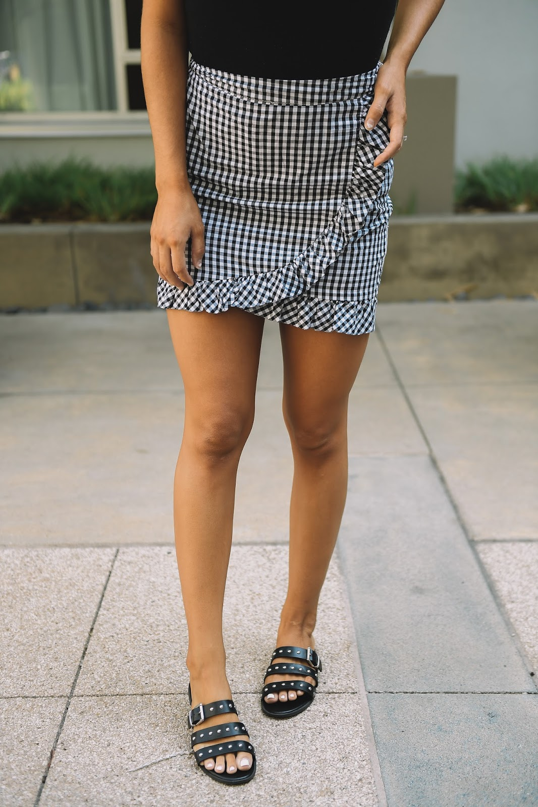 Frill Hem Gingham Skirt -- @taylorwinkelmeyer