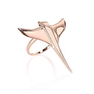 Rose Gold Plated Manta Ring Dominic Jones