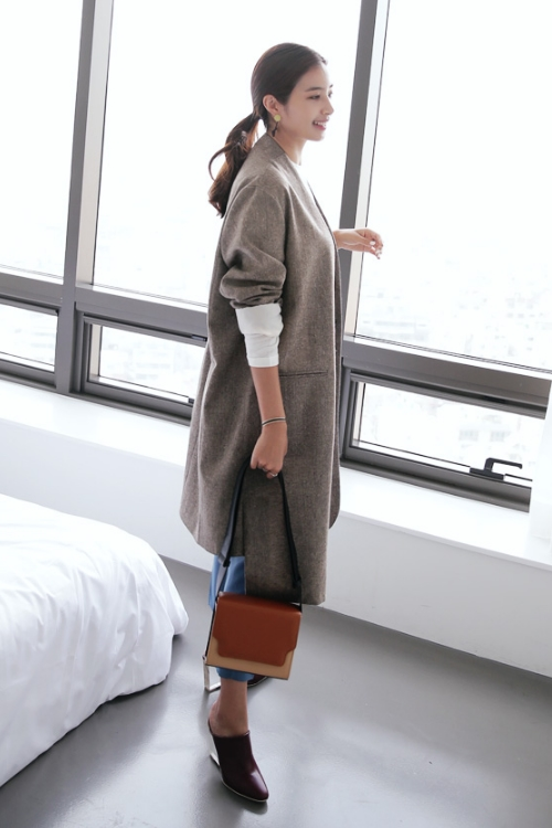 Uneven Hem Stand Collar Coat