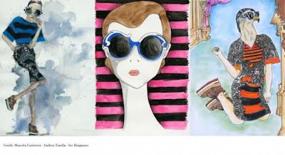 ac748aed4 Para divulgar seus novos óculos Minimal-baroque, a Prada desenvolveu um  projeto de desenhos e fotos.