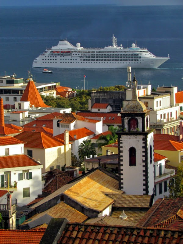 the church and a cruise ship