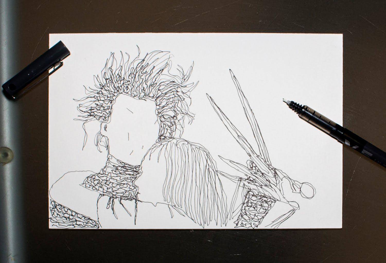 Ilustración sobre Eduardo Manostijeras creada por Pelayo Rodríguez