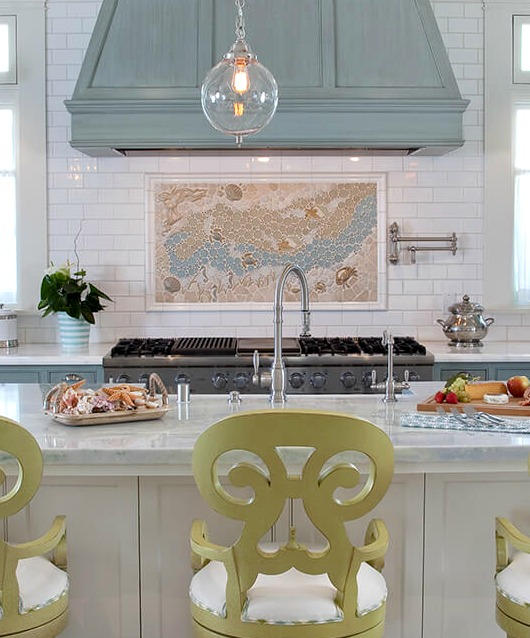 Ocean Tile Art Mosaic Kitchen Backsplash Idea