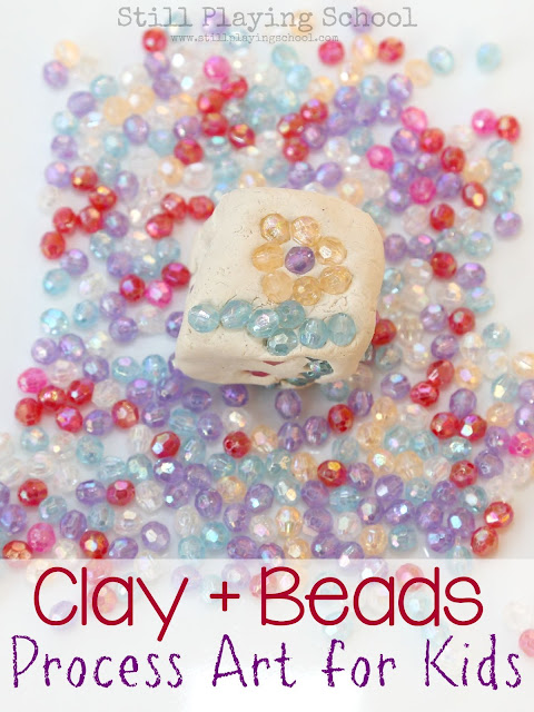 Create process art with kids using clay and beads!