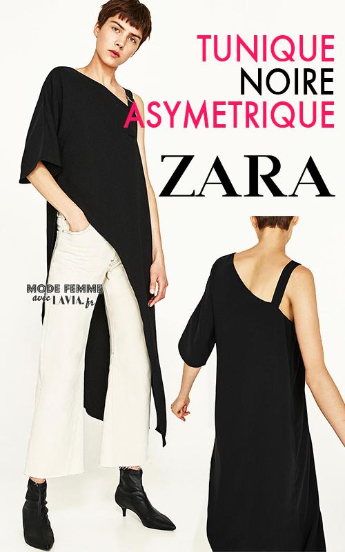 Tunique asymétrique noire une manche ZARA