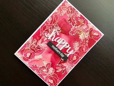 Hand made mothers day card with Pixie Powder background, heat embossed flowers and die cut greeting