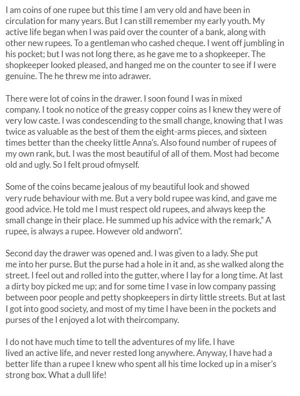 autobiography of a rupee essay