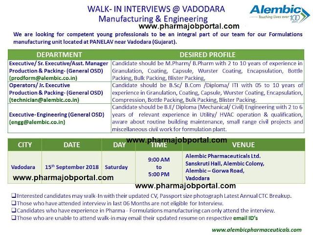 Alembic Pharmaceuticals - Walk-In Interviews For  M.Pharm, B.Pharm, B.Sc, B.Com, Diploma, ITI at 15 Sep