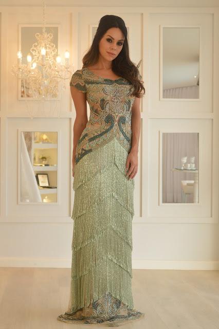 vestido de festa franjas bordado