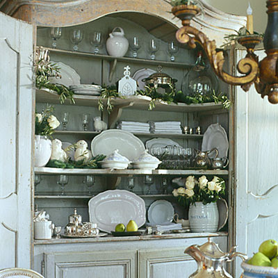 image result for Pam Pierce beautiful dining room French farmhouse Swedish cupbard hutch interior design