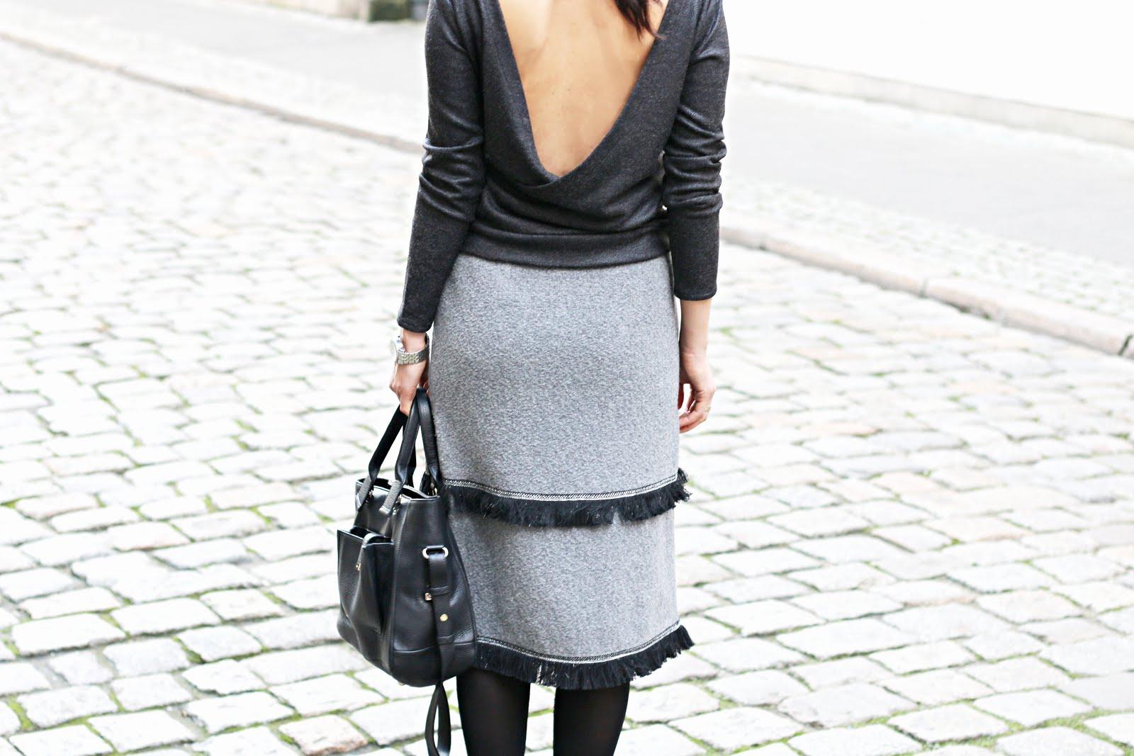 zimowa moda, zimowe stylizacje, moda zima, sweter z dekoltem z tyłu, vicher, Ewa Bednarska, futro, wełniana sukienka, novamoda style, novamoda stylizacje, trendy, moda po 30 ce,