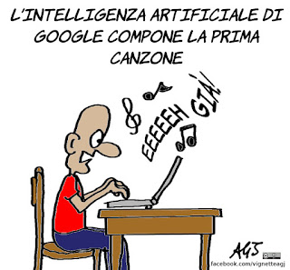 musica, intelligenza artificiale, google, umorismo, vignetta