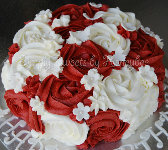 Rose Day Cake Images : Red & White Rose Swirl Cake aka Queen of Hearts Cake ...