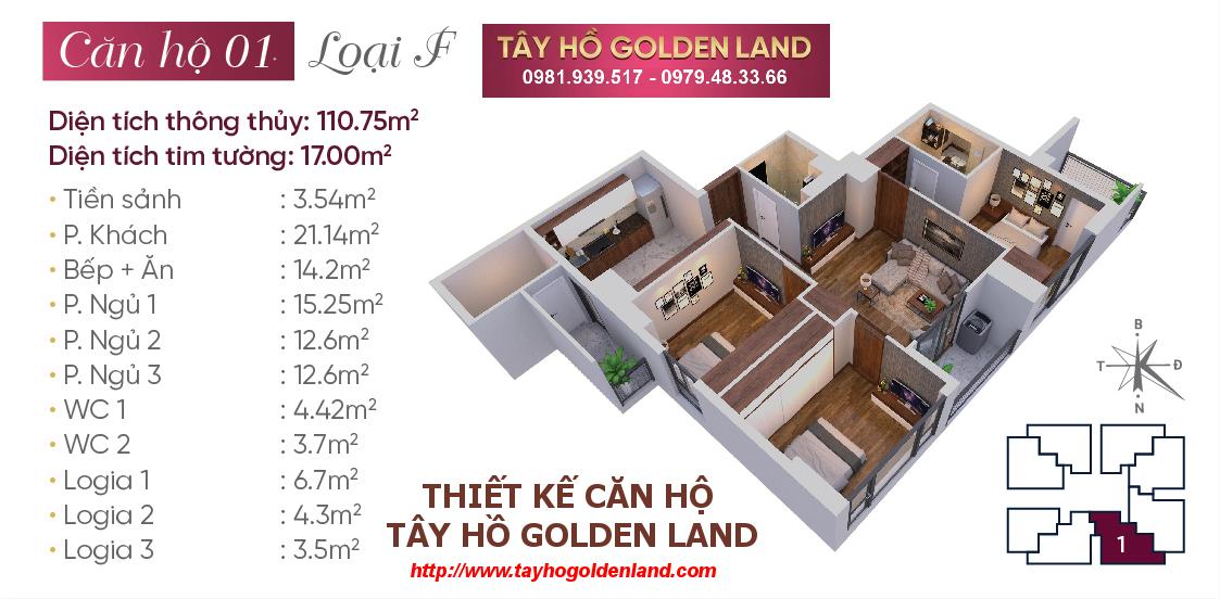 Hình ảnh Thiết kế căn hộ Tây Hồ Golden Land Căn 01 - Loại F