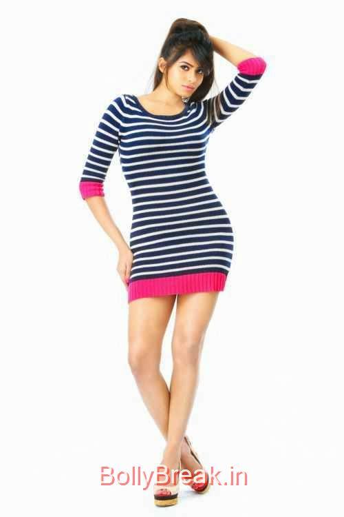 Deepa-Sannidhi-Photo-Stills-1, Deepa Sannidhi Hot HD Images in Black White Striped Dress
