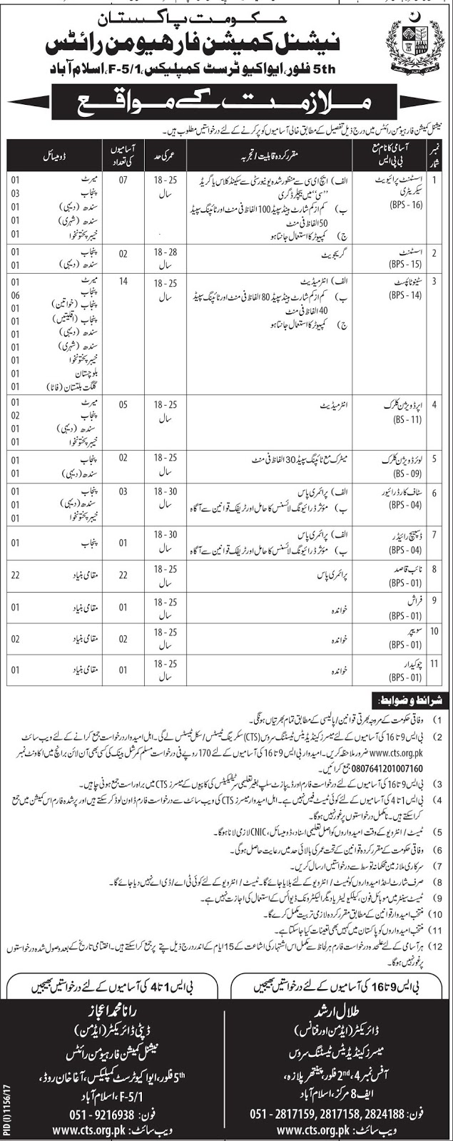 jobs in National Commission For Human Development Islamabad aug 2017