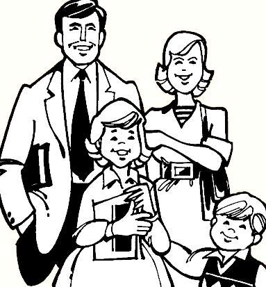 Gráfico de la familia para pintar (Padres e hijos)