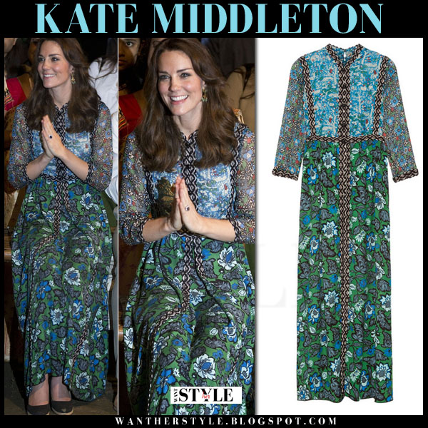 Kate Middleton in blue and green floral print maxi Anna Sui dress india 2016 what she wore royal visit