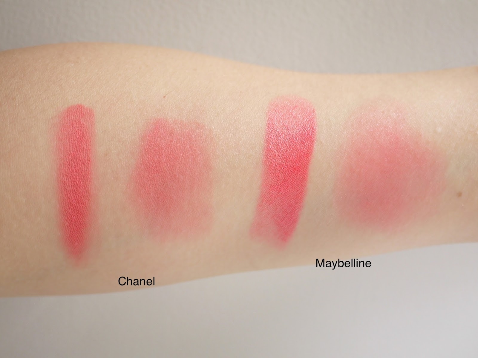 chanel intonation dupe swatch maybelline master glaze coral sheen