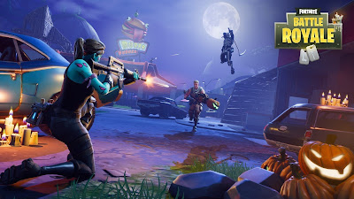Guerrera de Fortnite disparando de noche