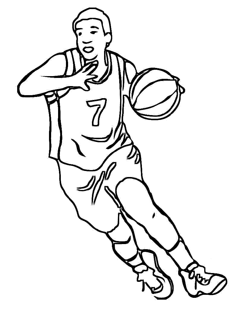 basketball coloring book pages - coloring page for sports kids