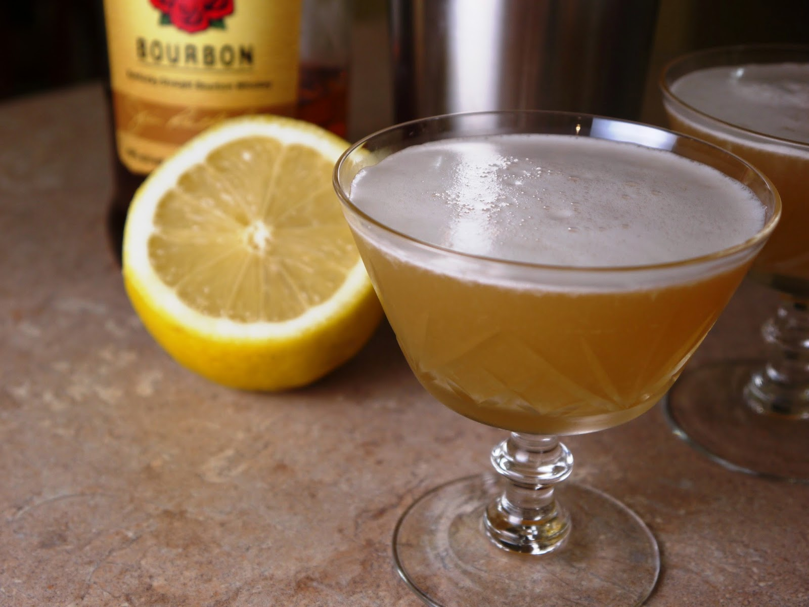 Bourbon sour with egg white