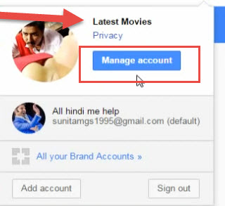 Manage account youtube