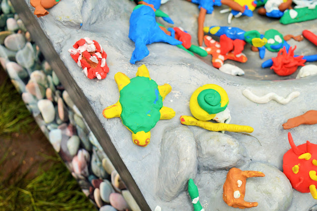Creatures made from plasticine on a large display area.