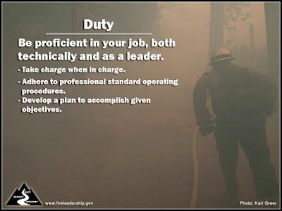 Duty: Be proficient in your job, both technically and as a leader. Take charge when in charge. Adhere to professional standard operating procedures. Develop a plan to accomplish given objectives. [Photo credit: Kari Greer/USFS]
