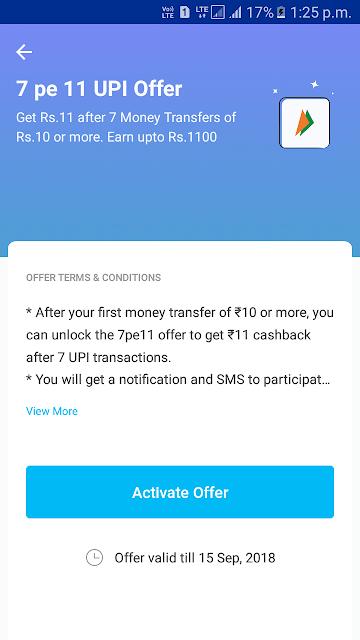 Paytm upi offer offer 7 pe 11 earn upto 1100 rupees.