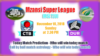 Today Prediction Durban Heat vs Cape Town Blitz MSL 2018 3rd Match