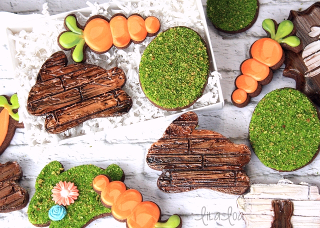 Decorated Moss and Wood Bunny cookies for Easter