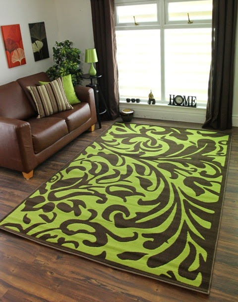 decoración sala marrón verde