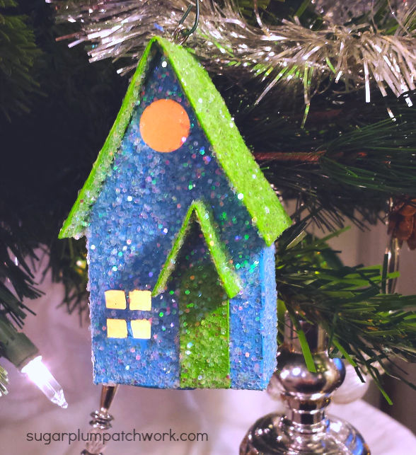 Blue and green putz house ornament
