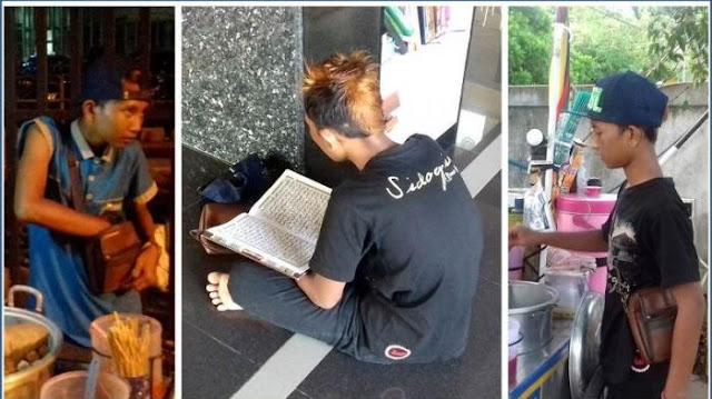 Sanggup Getarkan Hati, Melihat Bocah Penjual Cilok Ini Sempatkan Baca Al-Quran Bahkan Mampu Menghafal 25 Juz Dengan Dandanan Seperti Preman