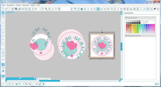 Veranschaulichung der Dateieigenschaften von Studio3, SVG und PNG im Silhouette Studio
