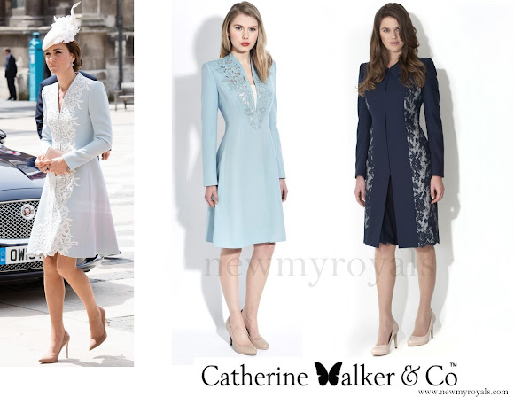 Kate Middleton wore a bespoke, mist blue, wool crepe coat dress with white lace embellishment all the way down the front by Catherine Walker