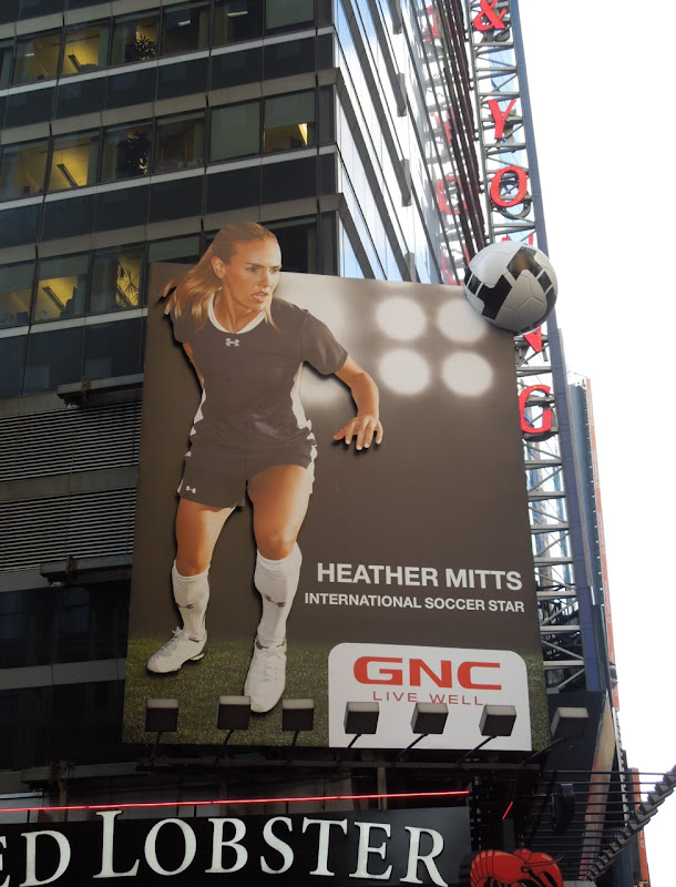 Heather Mitts GNC soccer ball installation billboard NYC