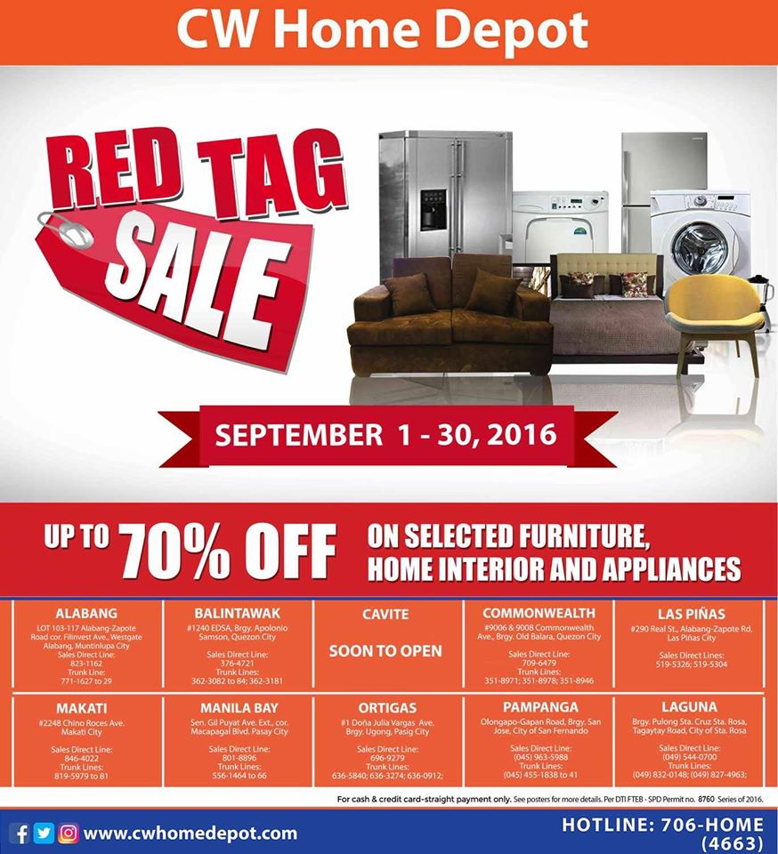 Manila Shopper CW Home Depot Red Tag SALE Sept - Red tag furniture