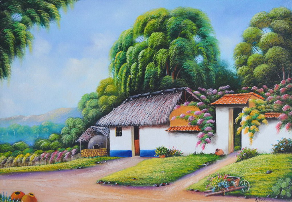 Cuadros modernos pinturas y dibujos im genes de paisajes - Paisajes de casas ...