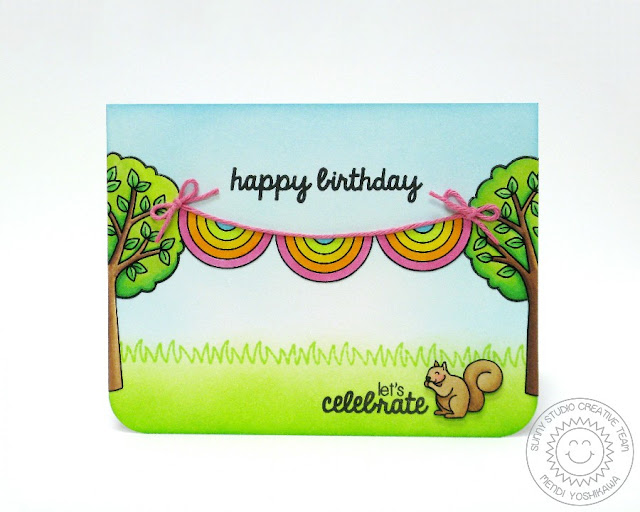 Sunny Studio: Banner Birthday card by Mendi Yoshikawa (using Summer Picnic, Stars & Stripes, Comfy Creatures & Sunny Sentiments stamps)
