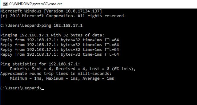 ping dari client ke router mikrotik