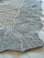 Detail of a knitted lace shawl