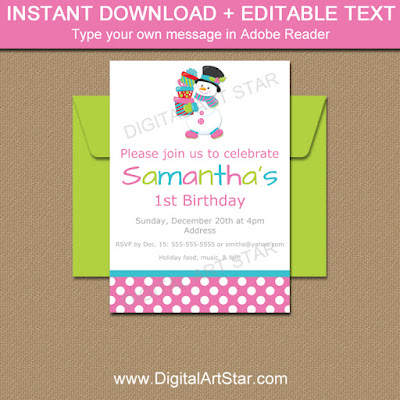 Girl Christmas Invitations with Snowman - pink with white polka dots