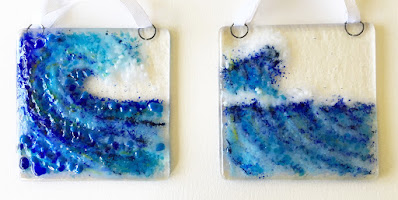 How to Make a Fused Glass Wave Ocean Suncatcher Painting by Sharon Warren Glass | sharonwarrenglass