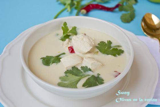 Sopa Tailandesa de pollo con leche de coco