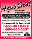 Aquaseal Wet Leaky Basement Solutions Specialists Barrie 1-800-NO-LEAKS or 1-800-665-3257