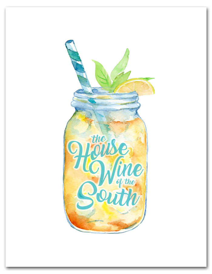 Free Sweet Tea Printable | A watercolor mason jar filled with the House Wine of the South, y'all! Free 8x10 instant download.