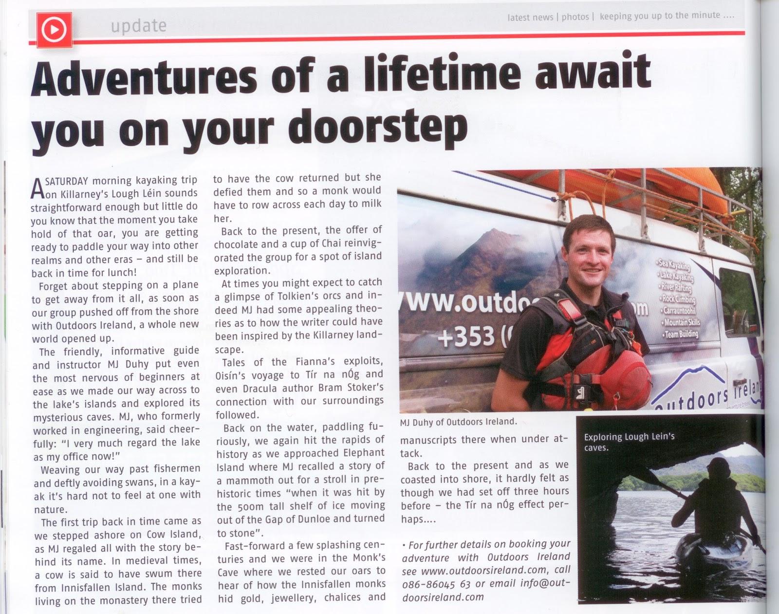 Outdoors Ireland: Killarney Advertiser - Kayaking Article
