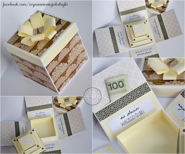 Podnoszony tort w ślubnym pudełeczku w stylu retro